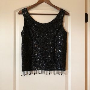 Vintage black sequin and beaded top size small
